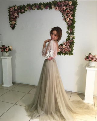 Romantic Long Sleeves Evening Gowns | Flowers Long Formal Dresses_1