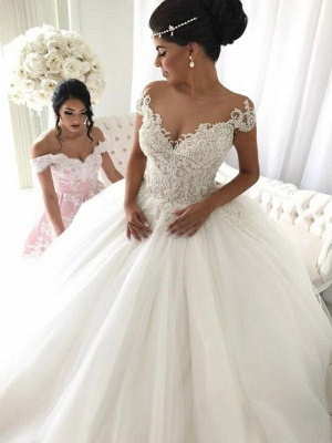 Glamorous Princess Ball Gown Sleeveless Wedding Dresses   Off-the-Shoulder V-Neck Bridal Gowns_1