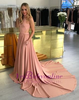 A-line Simple Halter Sleeveless Pink Sweep-trian Evening Dress_5