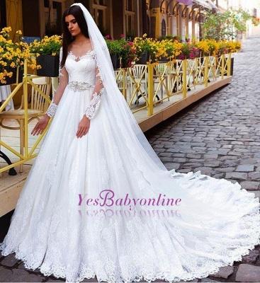 Long Sleeves Crystal Glamorous Lace Princess Wedding Dresses_1