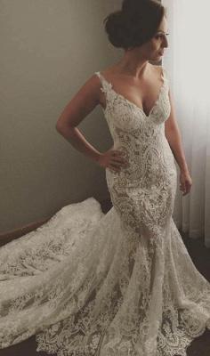 V-neck Sleeveless Sexy Mermaid Wedding Dresses | Lace Appliques Bridal Dress WE0196_1