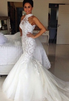 Long Sleeveless Halter Applique Sexy Mermaid Tulle Wedding Dresses_2