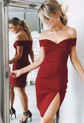 Newest Off-the-shoulder Bodycon Homecoming Dress | Short Party Gown_1