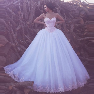 Glamorous Sweetheart Ball Gown Appliques Tulle Wedding Dresses_3