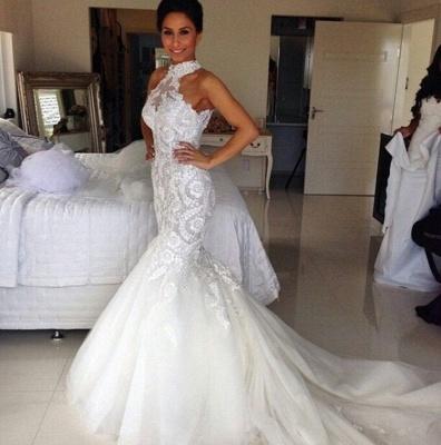 Long Sleeveless Halter Applique Sexy Mermaid Tulle Wedding Dresses_3