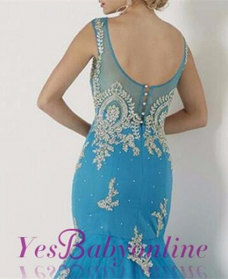 Sleeveless Scoop Red Appliques Mermaid Prom Dress_4