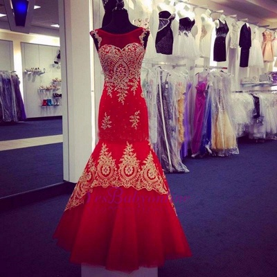 Sleeveless Scoop Red Appliques Mermaid Prom Dress_3