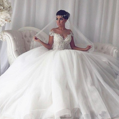 Glamorous Princess Ball Gown Sleeveless Wedding Dresses   Off-the-Shoulder V-Neck Bridal Gowns_4