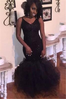 Black V-neck Sequins Prom Dresses | Mermaid Sleeveless Evening Gowns_1