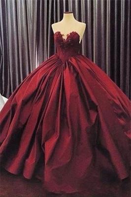 Ball-Gown Sweetheart Appliques Sleeveless Elegant Prom Dress_2