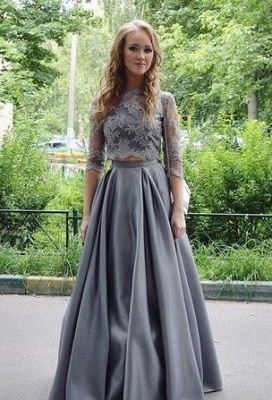 Long Gray Two-Pieces Elegant Hlaf-sleeves Floor-length Lace Scoop Prom Dress_3