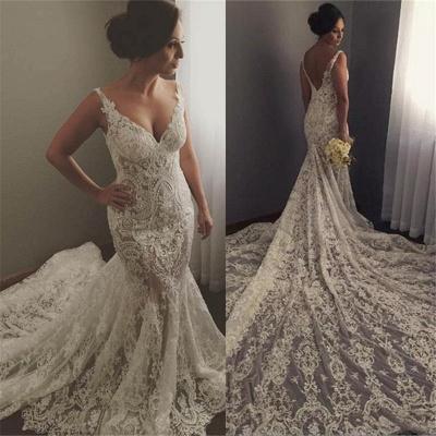 V-neck Sleeveless Sexy Mermaid Wedding Dresses | Lace Appliques Bridal Dress WE0196_4