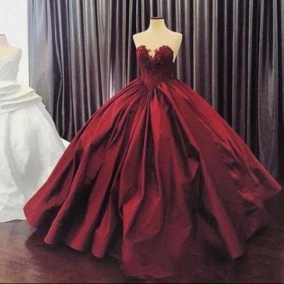 Ball-Gown Sweetheart Appliques Sleeveless Elegant Prom Dress_3