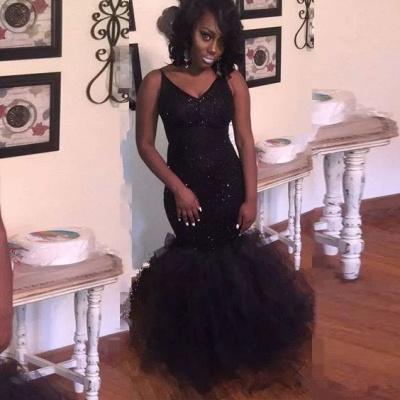 Black V-neck Sequins Prom Dresses | Mermaid Sleeveless Evening Gowns_3