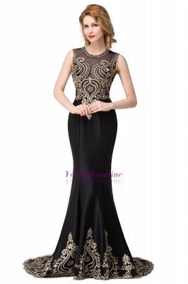 Appliques Scoop Mermaid Black Sleeveless New Prom Dress_1