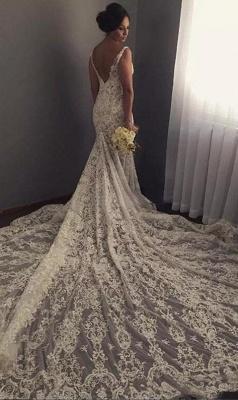 V-neck Sleeveless Sexy Mermaid Wedding Dresses | Lace Appliques Bridal Dress WE0196_3
