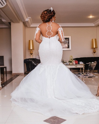 Plus Size Jewel Long Sleeve Backless Applique Pearls Mermaid Fit And Flare Wedding Dresses_3