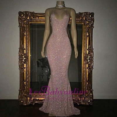 Shiny Blushing Pink Prom Dresses Sequins V-Neck Sleeveless Mermaid Evening Gowns_1