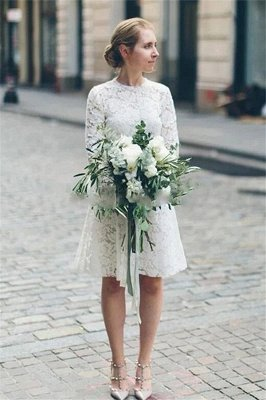 Jewel Short Casual Lace Wedding Dresses with Long Sleeves for Beach and Barn Wedding_1