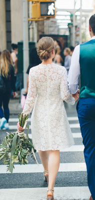 Jewel Short Casual Lace Wedding Dresses with Long Sleeves for Beach and Barn Wedding_2