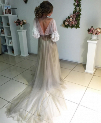 Romantic Long Sleeves Evening Gowns   Flowers Long Formal Dresses_3