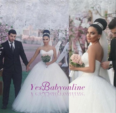 Sweetheart Glamorous Beading Sleeveless Princess Ball Gown Wedding Dress_1