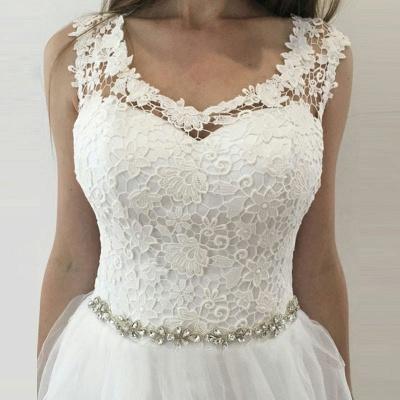 Glamorous A-Line Sleeveless Wedding Dresses | Straps V-Neck Tulle Bridal Gowns_4