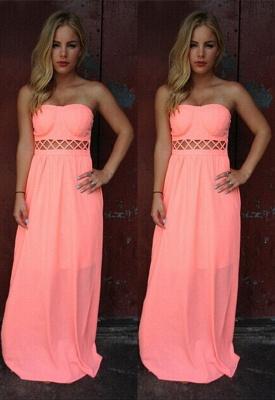 Floor-length Sleeveless Simple Strapless A-line Prom Dress_2