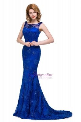 Crystal Mermaid Appliques Sleeveless  Royal-Blue Prom Dress_4