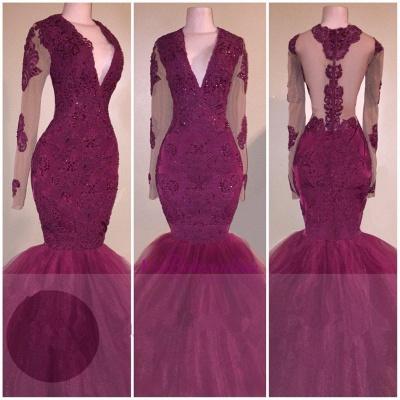 V-Neck Appliques Beaded Tulle Burgundy Long-Sleeves Mermaid Prom Dress_1
