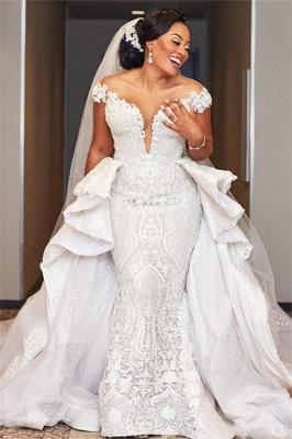 Gorgeous Off the Shoulder Lace Wedding Dresses With Detachable Train_1