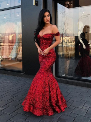 2019 Mermaid Sparkly Sequined Evening Dresses | Off-The-Shoulder Floor Length Prom Dresses_1