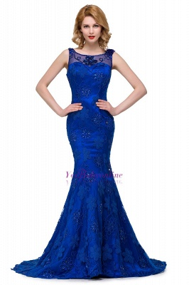 Crystal Mermaid Appliques Sleeveless  Royal-Blue Prom Dress_6
