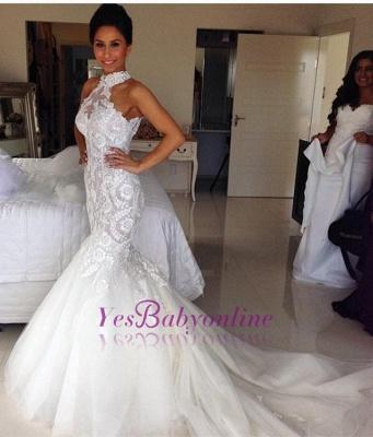 Long Sleeveless Halter Applique Sexy Mermaid Tulle Wedding Dresses_1