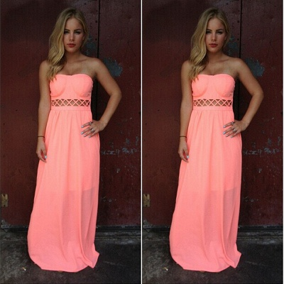 Floor-length Sleeveless Simple Strapless A-line Prom Dress_3
