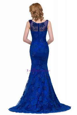 Crystal Mermaid Appliques Sleeveless  Royal-Blue Prom Dress_5
