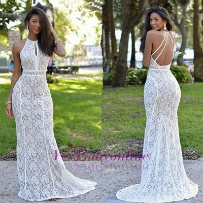Newest Lace Mermaid Prom Dress Backless White Formal Gowns_1