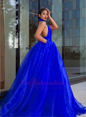 Luxurious Royal-Blue Prom Dresses    High-Neck Evening Dresses_1
