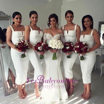 Modest Sleeveless Bodycon Straps Tea-Length White Bridesmaid Dress_1