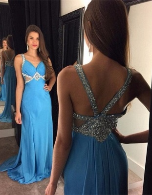 Blue Sexy Sleeveless Long  Crystal Prom Dresses_2