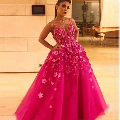 prom long dresses fuchsia princess Flower prom dresses_3