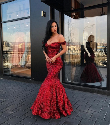2019 Mermaid Sparkly Sequined Evening Dresses | Off-The-Shoulder Floor Length Prom Dresses_3
