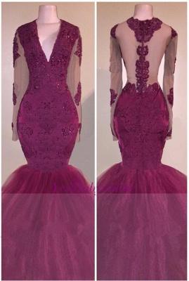 V-Neck Appliques Beaded Tulle Burgundy Long-Sleeves Mermaid Prom Dress_2