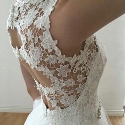 Glamorous A-Line Sleeveless Wedding Dresses | Straps V-Neck Tulle Bridal Gowns_5