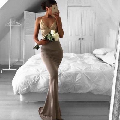 Mermaid Sexy Lace Sweep-Train Sleeveless Spaghetti-Strap Prom Dress_3