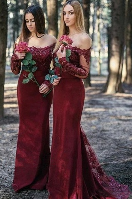 Burgundy Bridesmaid Dresses With Long Sleeves | Off the Shoulder Long Maid of Honor Dresses_1