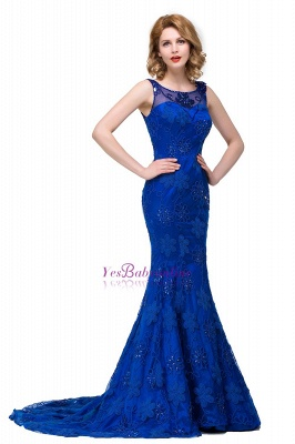 Crystal Mermaid Appliques Sleeveless  Royal-Blue Prom Dress_3