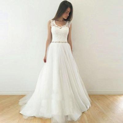 Glamorous A-Line Sleeveless Wedding Dresses | Straps V-Neck Tulle Bridal Gowns_3