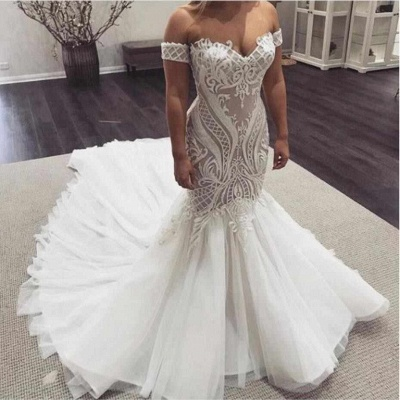 Off the Shoulder Sweetheart Sexy Lace Mermaid Wedding Dresses_2