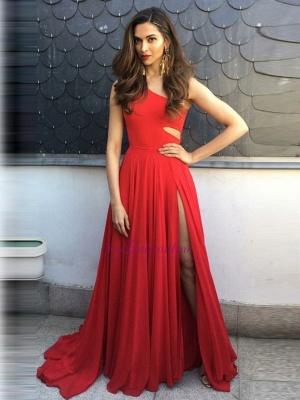 Elegant One-Shoulder Sleeveless A-Line Side-Slit Prom Dresses_4